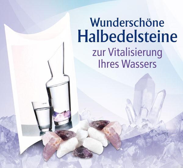 Wasserenergie Set Bergkristall, Rosenquarz und Amethyst
